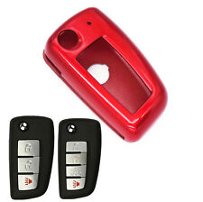 Red Paint Plastic Remote Flip Key Case Cover Chain for Nissan Rogue KBRASTU15