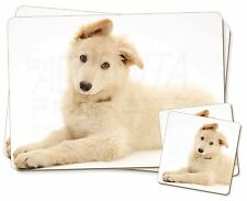 White German Shepherd Twin 2x Placemats+2x Coasters Set in Gift Box, AD-GS5PC