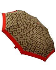 Coach Signature Compact Umbrella Automatic Open Retractable NWT F63364 Khaki
