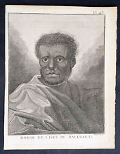 1778 Capt Cook visit Malakula Isle Vanuatu in 1774 Antique Print Portrait A Man
