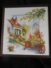 "Needle Point 17"" x 17"" Framed Cottage With Wheel Barrow Full Of Flowers Textile"