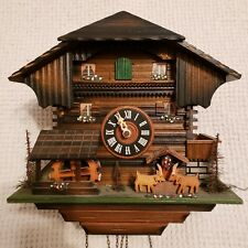 NICE VINTAGE GERMAN BLACK FOREST HIGHLY ANIMATED MUSICAL CUCKOO CLOCK - VIDEO