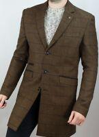 Men's Wool Mix 3/4 Length Trench Coat Tan /Tonal Checked Herringbone Tweed