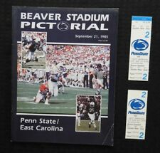 SEPT 7 1985 PENN STATE LIONS vs EAST CAROLINA FOOTBALL PROGRAM + TICKETS 1 FULL