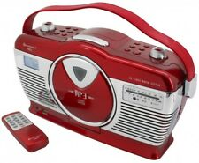 Soundmaster RCD1350RO, rot, Retro Radio mit CD-MP3, USB, SD, LCD Uhr mit Wecker
