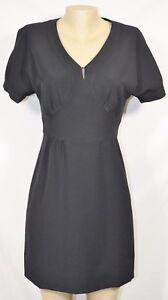 HARVE BENARD Black Short Sleeve Dress 6 Fitted Waist Lined Above Knee Length