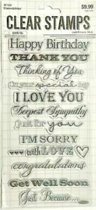 STAMPABILITIES CLEAR STAMPS ~CARD PHRASES CODE 807826