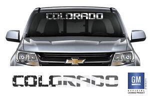 Chevy COLORADO V6 LT Black / Gray American Flag Windshield Banner Decal Sticker