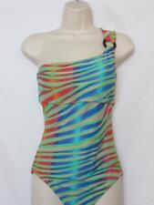 NWT ABS Allen Schwartz One Piece Swimsuit Multi Color Stripes One Shoulder 10