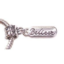 Believe Cursive Writing Inspirational Dangle Bead fits European Charm Bracelets