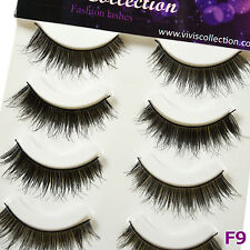 5 Pairs Natural Black False Eyelashes Fluttery Full Volume Fake Eye Lashes - F9