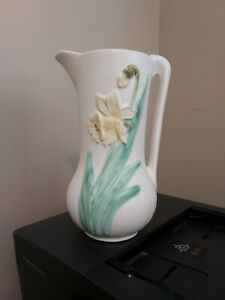 """Vintage Weller Pottery Since 1872 Pitcher - 10"""" Tall with Daffodils"""