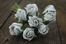 8 x SILVER GREY COLOURFAST FOAM ROSE BUDS 2.5cm WEDDING