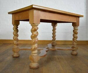 Light oak spiral barley twist side dining kitchen table / library table