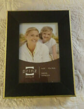 "Prinz Picture Frame Black W/Rose Gold Outer Border Wood Holds 4"" x 6"" Photo Nwot"