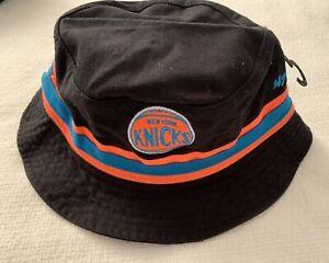 NY KNICKS STRIPE BUCKET HAT 47 BRAND SIZE S/M BLACK ORANGE CAP NBA BASKETBALL