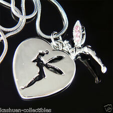 w Swarovski Crystal ~Pink Tinker Tinkerbell Heart Dog Tag Fairy Pendant Necklace
