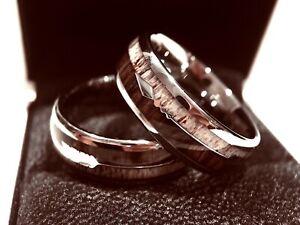 Wedding Bands, Matching Rings Set, Antler Rings, Arrow Inlay Rings, Wooden Band