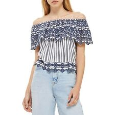 Topshop Top Women's US Sz 10  Broderie  Off The Shoulder Navy Striped New $55