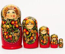 """6"""" Wooden Nesting Dolls Russian Doll Matryoshka Hand Painted Khokhloma Ladybugs"""