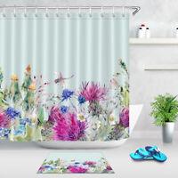 Summer Watercolor Floral Shower Curtain Waterproof Fabric Bathroom Accessories