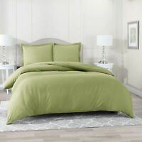Duvet Cover Set Soft Brushed Comforter Cover W/Pillow Sham, Sage - Twin