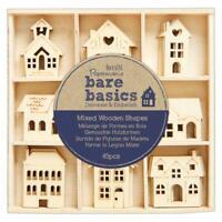 45 x Papermania Bare Basics House craft shapes Wooden house shapes embellishment