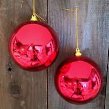 """2 SHINY RED 5"""" CHRISTMAS BALL PLASTIC OUTDOOR ORNAMENTS 5"""" wide RED"""