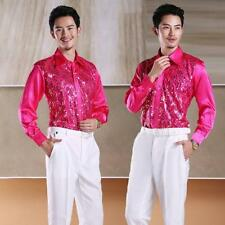 Mens Dancewear Set Latin Ballroom Dance Costume Rhythm Salsa Shirt Multi Color