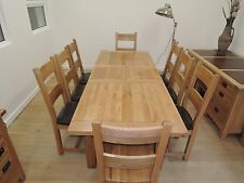VANCOUVER OAK 1.8m-2.3m EXTEND TABLE AND 8  SOLID OAK OR LEATHER CHAIRS OIL/WAX