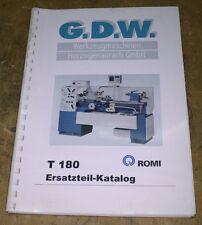 Ersatzteil-Katalog - Drehmaschine G.D.W. T 180 Romi - Bj. 2000