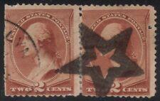 US Scott # 210 2c Washington Fancy Cancel Great Star Strike Pair
