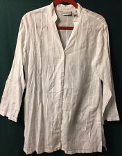 Chico's Women's White Button Front Tunic Top Size 1 Pre-owned
