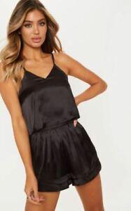 Women' Satin Cami and Shorts set Ladies Loungewear Nightie Nightwear Silky Cami