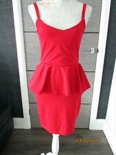 LADIES 'I LOVE FASHION' RED PEPLUM DRESS UK 10 BNWT