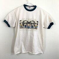 Vintage 90s T Shirt Single Stitch Maui Hawaii Puff Print White Graphic Oneita XL