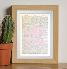 Adidas Logo Pink dictionary page art print vintage gift antique book D90