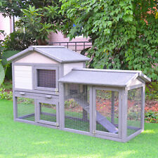 2 Two Tier Wooden Rabbit Bunny Guinea Pig Hutch Small Pet House Ramp Outdoor