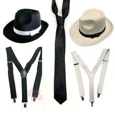 Gangster Costume Fancy Dress Gangster Hat & Long Tie & Suspenders Braces 1920s