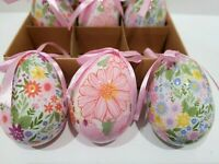 Easter Floral Pink Blue Yellow Egg Tree Ornaments Home Decor Set of 9