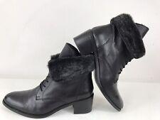 Faith Leather Faux Fur Collar Lace Up Block Cuban Heel Flat Ankle Boots Black 6