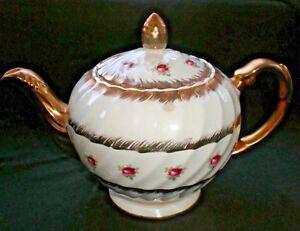 VINTAGE ELLGREAVE POTTERY 2597 ROSES ROSE BUDS GILDED TEA POT - HEATMASTER [59]