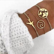 3Pcs/Set Trendy Women Boho World Map Airplane Weave Rope Bracelet Bangle Jewelry