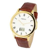 Elegante Herren Funkuhr (deutsches Funkwerk) Edelstahl Leder Armbanduhr 964.4702