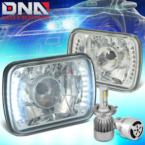 7x6 SQUARE CHROME PROJECTOR CLEAR HEADLIGHT+WHITE LED H4 HID W/FAN FIT NISSAN