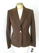 NWT Anne Klein Chocolate Bronze Stretch Worsted Wool Blazer Career Jacket 4P