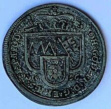 1696 GERMAN STATES WURZBURG SILVER SCHILLING - JOHANN GOTTFRIED II -  F+