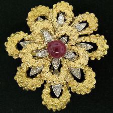 Vintage French 18K TT Gold 4.27ctw Diamonds & Ruby Textured Flower Burst Brooch