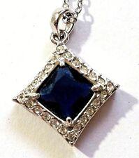 """VTG Lab Diamond & Sapphire Necklace Square Pendant 20"""" Silver Tone Chain B55"""
