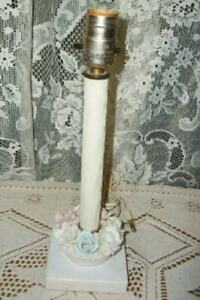 ITALIAN MARBLE PORCELAIN FLOWERS BOUDOIR LAMP VINTAGE 1940's MID CENTURY